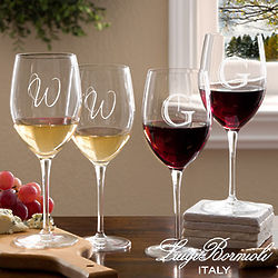 Personalized Sparx Wine Glasses with Initial Monogram