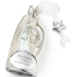 Engraved Holy Family Nativity Ornament