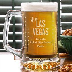Viva Las Vegas Personalized Elvis Beer Mug