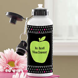 Personalized Green Apple Teacher's Water Bottle