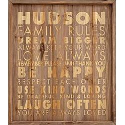 Personalized Family Rules Wood Sign