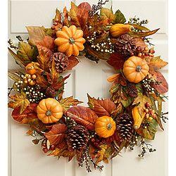 Faux Festive Pumpkin and Gourd Wreath