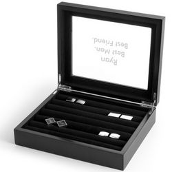 Small Black Cuff Link Valet Box with Engravable Glass Lid