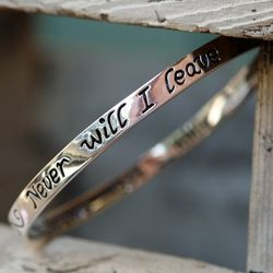 I Will Never Leave You Hebrews 13:5 Bangle Bracelet