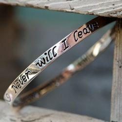 I Will Never Leave You Hebrews 13:5 Bangle Bracelet