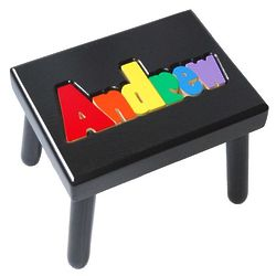 Kid's Personalized Name Puzzle Stool in Black with Primary Colors
