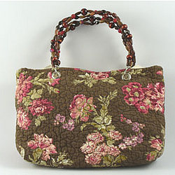 Dark Brown with Roses Handbag