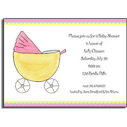 Baby Buggy Personalized Invitations