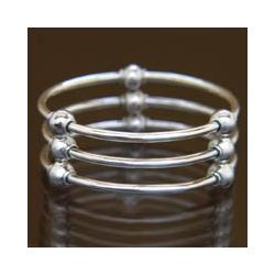 Cosmic Trio Sterling Silver Bangle Bracelet