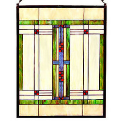 Arts and Crafts Prairie Art Glass Panel