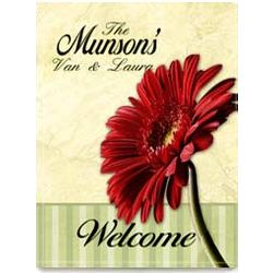 Personalized Red Gerbera 2 Sided Garden Flag