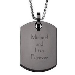 Personalized Black Stainless Steel Engraved Dog Tag