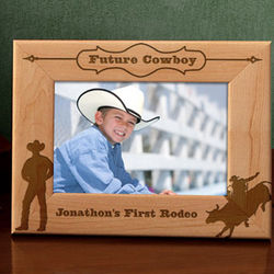 Personalized Rodeo Bull Rider Wooden Picture Frame