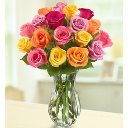 Bouquet of 18 Multicolored Roses