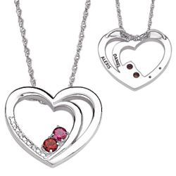 Sterling Silver Couple's Name and Birthstone Heart Necklace