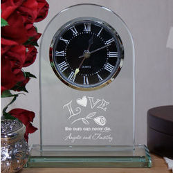 Engraved Love Glass Clock