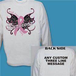 Butterfly Breast Cancer Survivor Long Sleeve Shirt
