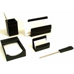 5-Piece Black Leather Desk Set