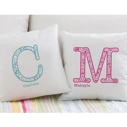 Kids Name and Monogram Personalized Pillow