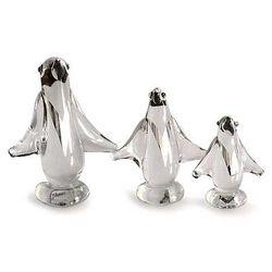 Blown Glass Silver Leaf Penguin Figurines
