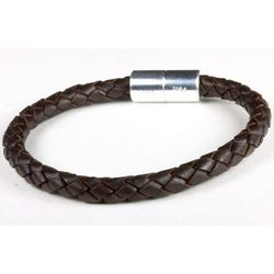 Dark Brown 6mm Braided Leather Bracelet
