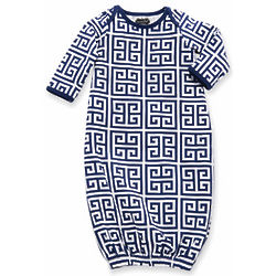 Baby's Navy Greek Key Sleep Gown