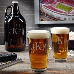 Classic Monogram Beer Growler Gift Set