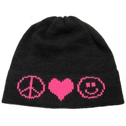Child's Peace Love Smiley Icons Knit Hat