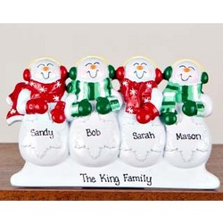 Personalized Snowman Family of 4 Table Decoration/Ornament