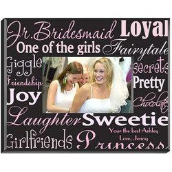Personalized Jr. Bridesmaid Pink / Brown Frame