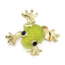 Light Green Frog Gold Plated Brooch