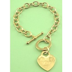 Gold Plated Tiffany Style Heart Charm Bracelet
