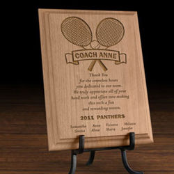 Personalized Our Tennis Coach Wooden Plaque
