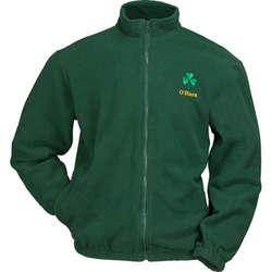 Personalized Dark Green Full Zip Fleece Shamrock Jacket