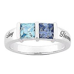 Personalized Sterling Silver Couple's Square Birthstone Ring