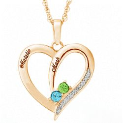 Birthstone and Name Couple's Heart Necklace