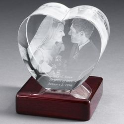 Heart Photo Crystal with Rosewood Base