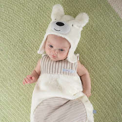 Baby's Beary Snuggly Polar Bear Snuggle Sack and Hat