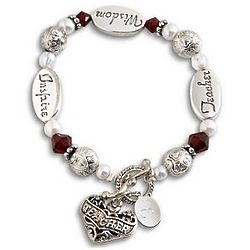 Personalized Antique Teacher Heart Bracelet