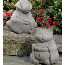 Buddha Dog or Cat with Etched Chinese Loyalty Character