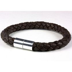 Dark Brown 8mm Braided Leather Bracelet