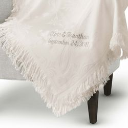 Embroidered Floral Crystal Lace Throw