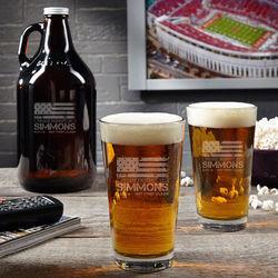 American Heroes Beer Growler and Pint Glasses