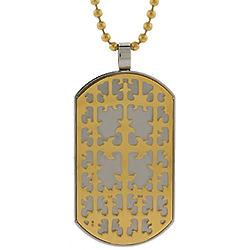 Renaissance Style Golden Cross Dog Tag