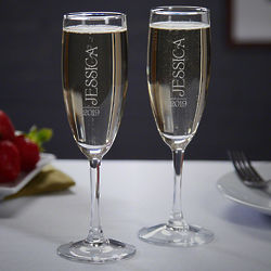 2 Jubilation Personalized Unique Champagne Flutes