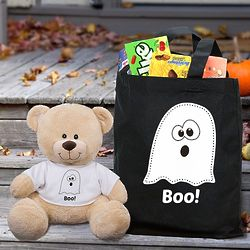 Halloween Boo Sherman Bear and Candy Tote Gift Set
