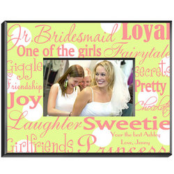 Personalized Jr. Bridesmaid Pink / Green Frame