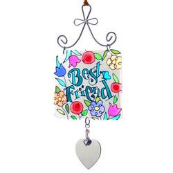 Engraved Best Friend Stained Glass Sun Catcher Ornament