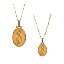 Designer Bronze & 14K Gold Initial Necklace