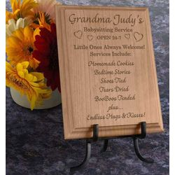 Personalized Babysitting Service Wooden Plaque